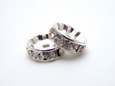 6mm Roundelle Crystal Spacers, Crystal (10)