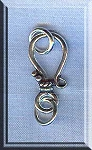 Sterling Silver J Hook Jewelry Clasp with Rings, 20mm
