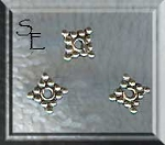 Sterling Silver Spacer Beads, 7mm Diamond (10)