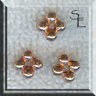 Copper Beads, 7mm 4-Ball Spacers (10)
