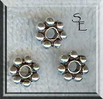 Sterling Silver Daisy Spacer Beads, 9mm Large (1)
