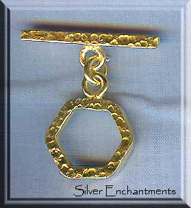 Vermeil Hammered Toggle Clasp, 16mm