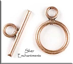 Copper Round Toggle Clasp, 11mm