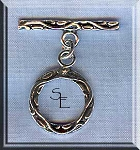 Sterling Silver Round Toggle Clasp with Leaf Detailing