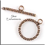 Copper Twisted Rope Toggle Clasp, 16mm
