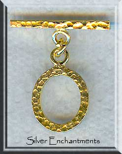 Vermeil Oval Hammered Toggle Clasp