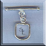 Sterling Silver U-Shaped Toggle Clasp, Brushed Finish
