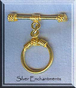 Vermeil Clasp, Round Toggle Clasps with Rope Details