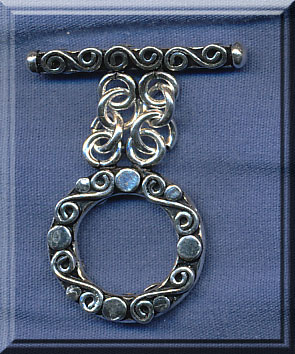 Sterling Silver Fancy 2-Strand Toggle Clasp, Double Sided