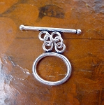 Sterling Silver Double Strand Oval Toggle Clasp 20x17mm
