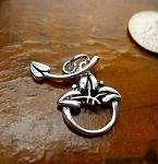 Sterling Silver Toggle Clasp, Leaf Toggle with Curved Leaf Bar