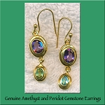 Amethyst and Peridot Gemstone Earrings, Gold Vermeil