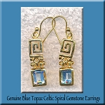Celtic Spiral and Blue Topaz Earrings, Gold Vermeil Gemstone Earrings