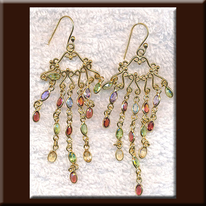 Long Multi-Gemstone Bohemian Chandelier Earrings, Gold Vermeil Garnet, Blue Topaz, Citrine, Amethyst and Peridot