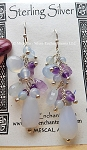 Chalcedony and Amethyst Earrings, Sterling Silver and Gemstone Earrings