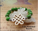 Celtic Witch Knot Bracelet, Green Turquoise Protection Bracelet, Celtic Jewelry