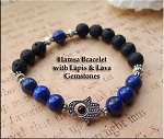 Protection Bracelet with Lapis Lazuli and Lava Gemstones, Hamsa Hand Evil Eye Warding Bracelet