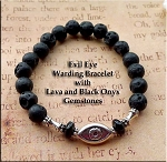 Protection Evil Eye Bracelet, Stregheria Witchcraft Bracelet, Warding Bracelet, Pagan Jewelry Lava Black Onyx Evil Eye Bead