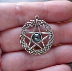 Sterling Silver Celtic Pentacle Pendant with Hematite