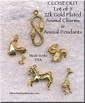 Gold Plated Animal Charms and Pendants 5 pieces Lot #1