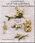 Gold Plated Animal Charms and Pendants, Lot of 5, Lot #2, CLOSEOUT