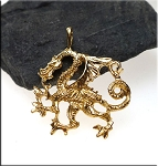 Gold Plated Dragon Pendant Bailed Guardian Dragon