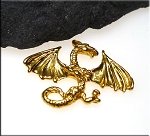 Gold Plated Dragon Pendant with Spread Wings, Draco