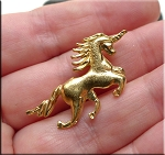 Gold Plated Unicorn Pendant, Charging Unicorn