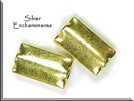 Gold Plated Scallop Edge Rectangle Bead, 15x8.5mm