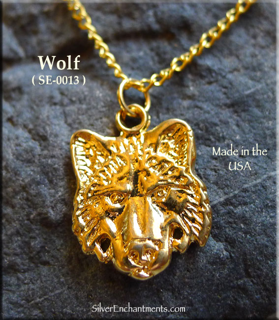 Gold plated wolf charm pendant aloadofball Image collections
