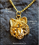Gold Plated Wolf Charm-Pendant 21x16mm