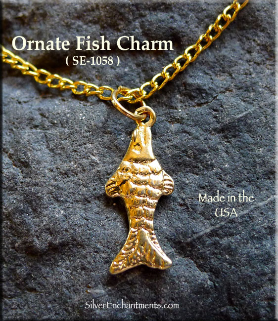 Gold plated fish charm fancy for Gold fish charm