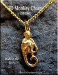 Gold Plated Monkey Charm, 3D Spider Monkey