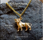 Gold Plated 3D Lion Charm