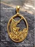 Gold Plated Swordfish Pendant, Bailed