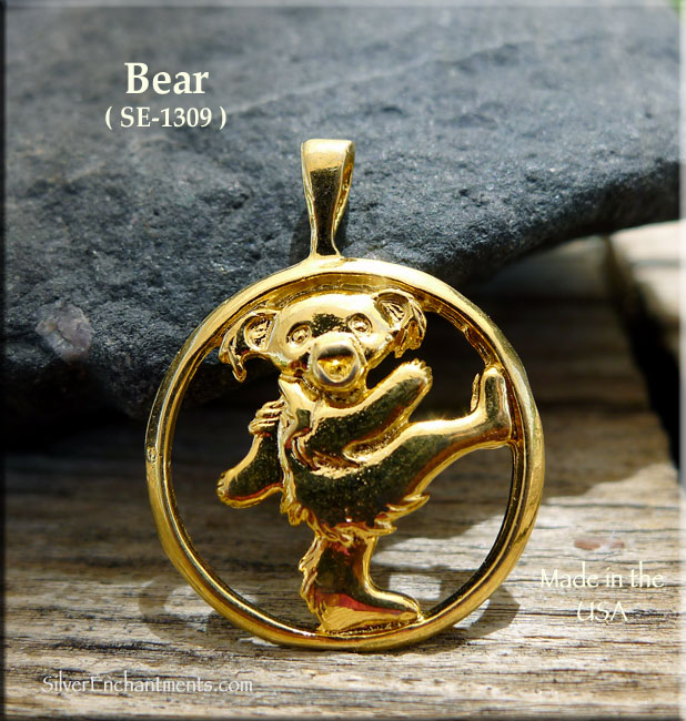 Gold plated bear pendant bailed dancing bear aloadofball Images