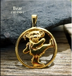 Gold Plated Bear Pendant, Bailed Dancing Bear