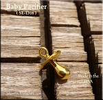 Gold Plated Baby Pacifier Charm, 3D