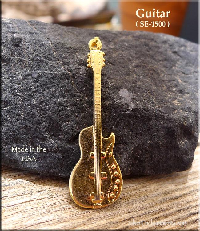 gold plated guitar pendant. Black Bedroom Furniture Sets. Home Design Ideas