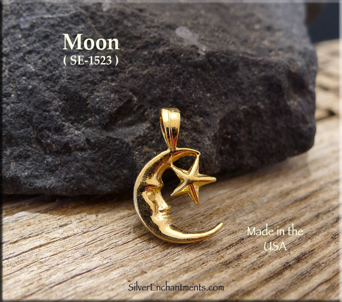 Gold Plated Moon Charm, Bailed
