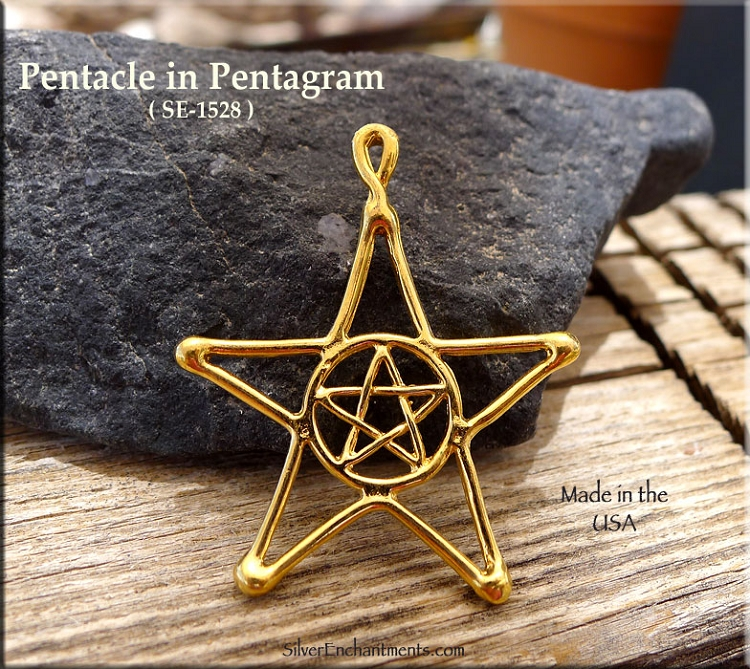 Gold Plated Pentacle in Pentagram Pendant