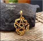 Gold Plated Ribbon Pentacle Pendant, Bailed