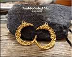 Gold Plated Crescent Moon Pendant, Double-sided