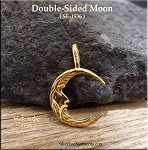 Gold Plated Moon Pendant, Bailed Double-sided