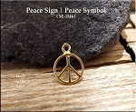 Gold Plated Peace Charm, Small Peace Sign
