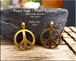 Gold Plated Peace Pendant, Bailed Peace Sign