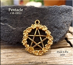 Gold Plated Pentacle Pendant with Flower Surround
