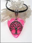 SOLDOUT - Tree of Life Guitar Pick Pendant Necklace, Pink