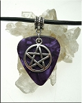 Pentacle Guitar Pick Necklace, Purple