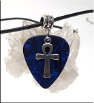 Ankh Guitar Pick Pendant Necklace, Blue